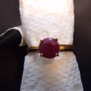 18K over SS Ruby Ring, Size 7 Birthstone ring JULY